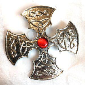 "Celtic Renaissance Pin Costume Jewelry 3"" Diameter"